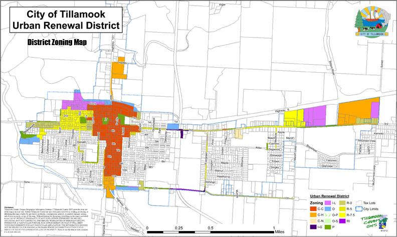 City Of Tillamook Urban Renewal District Zoning Map