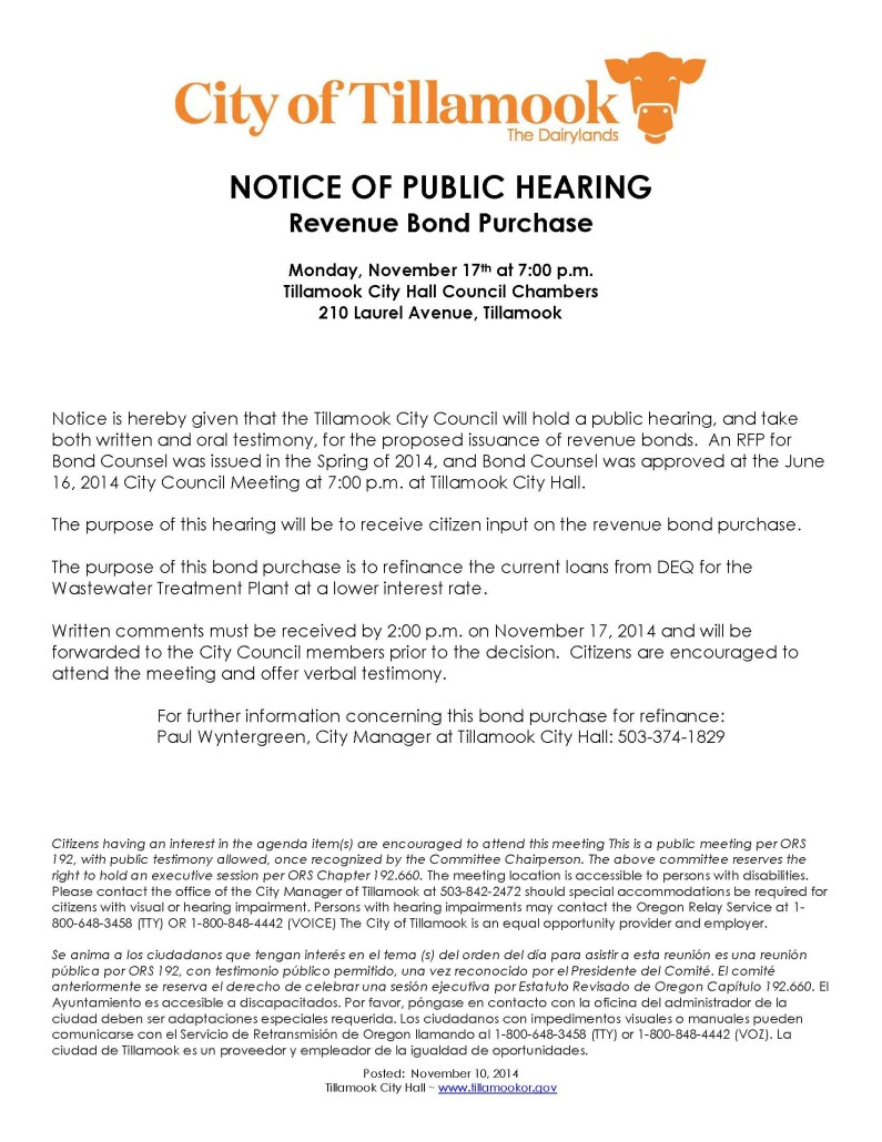 Notice of Public Hearing Bond Purchase
