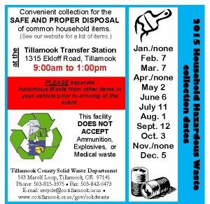 2015 Hazardous Waste Dates