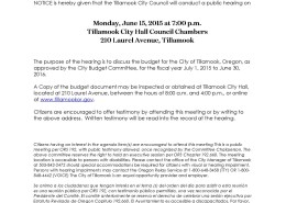 Notice of Budget Hearing 6.15.15