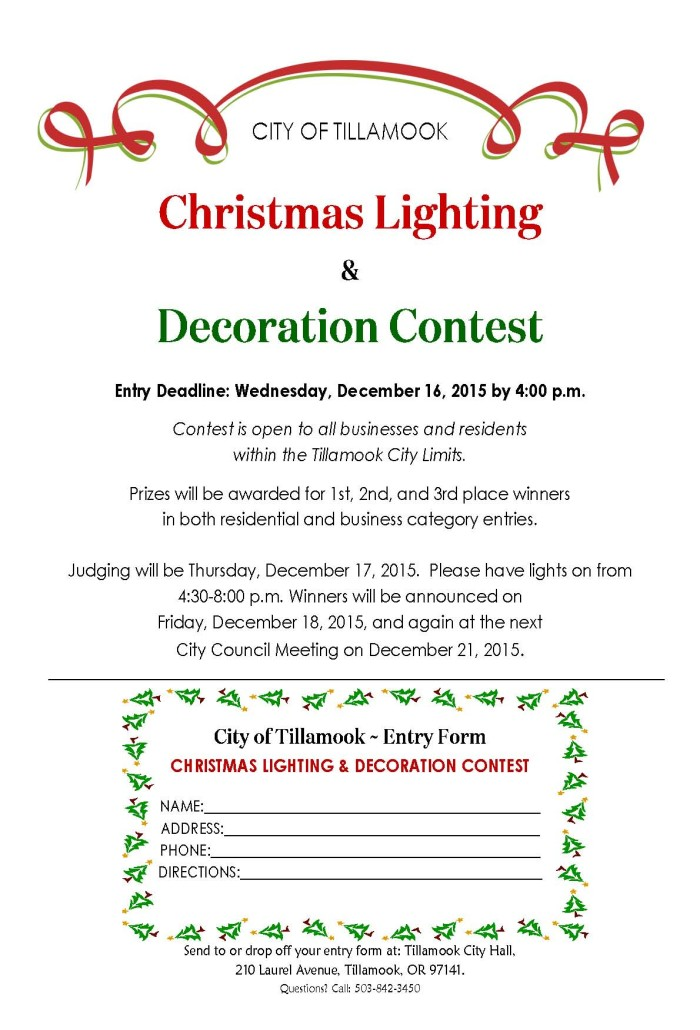 City Of Tillamook  Christmas Lighting And Decoration Contest
