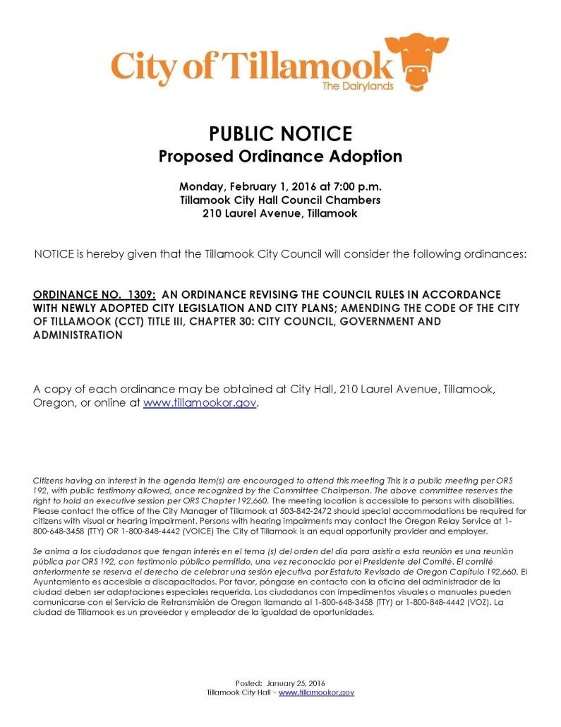 Public Notice of Ordinance Consideration 2.1.16