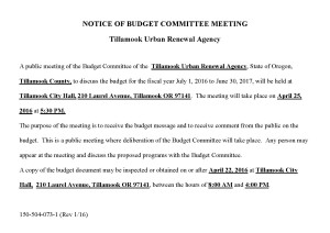 NOTICE OF BUDGET COMMITTEE MEETING - April 25, 2016