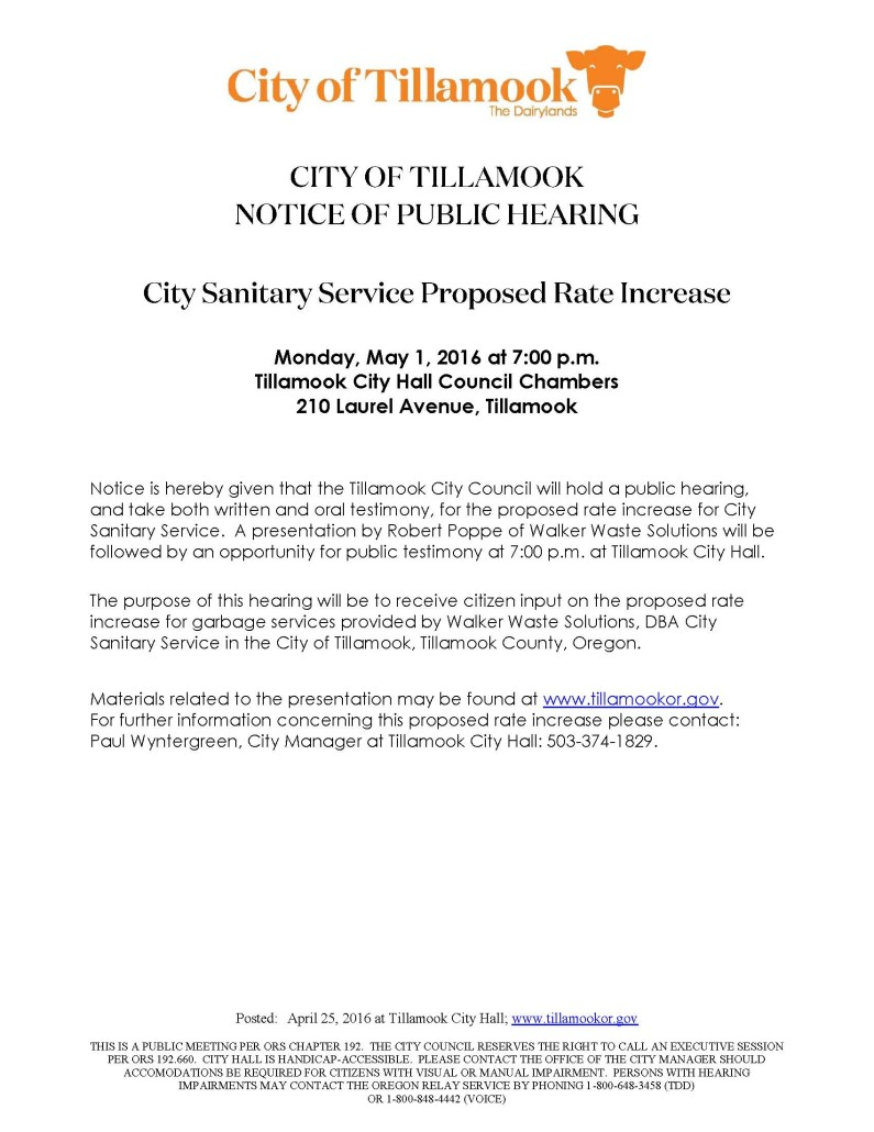 Public Hearing Notice CSS Rate Increase 5.2.16