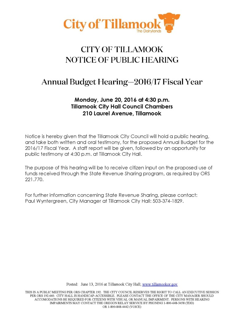Annual Budget Hearing 2016-17