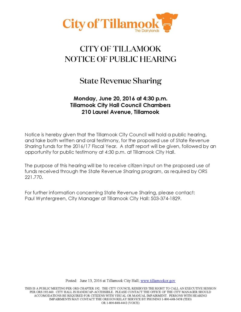 State Revenue Sharing Hearing 2016