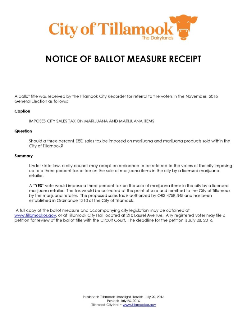 Notice of Ballot Measure Receipt