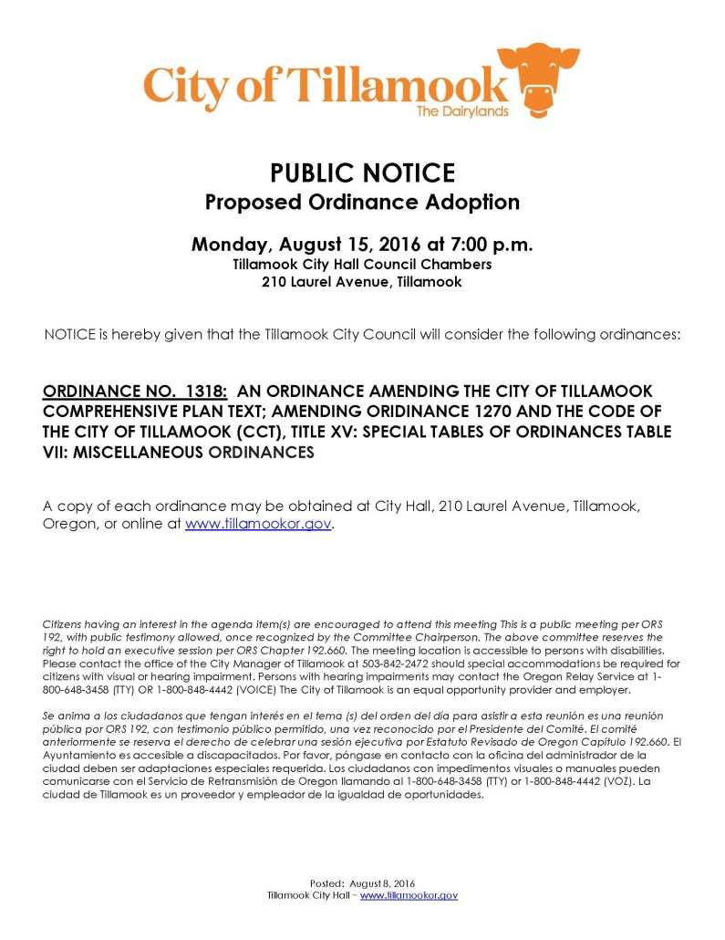 Public Notice of Ordinance Consideration