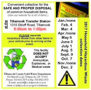 2017 Solid Waste dates