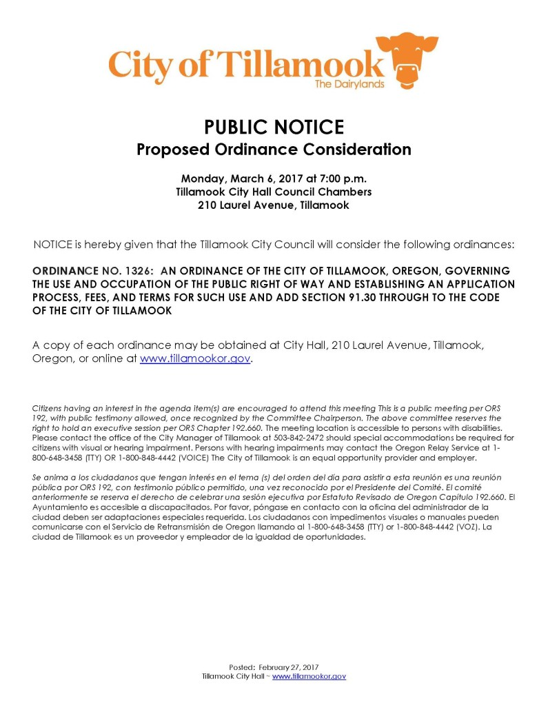 Public Notice of Ordinance Consideration 2