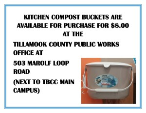 KITCHEN COMPOST BUCKETS ARE AVAILABLE FOR PURCHASE FOR