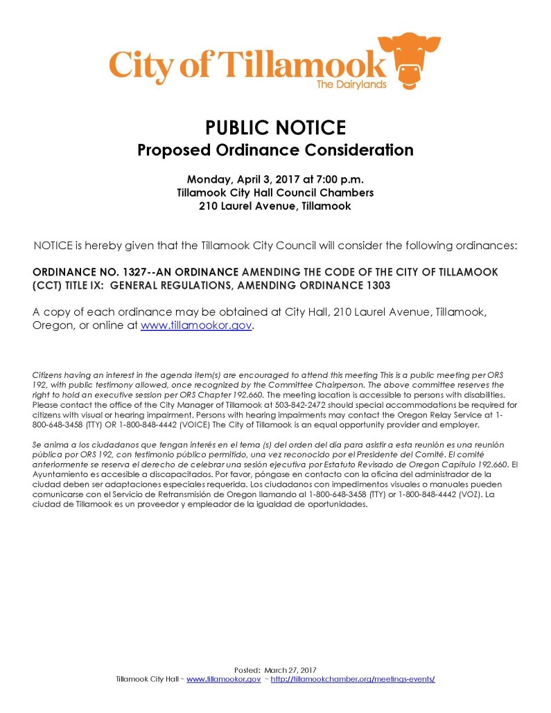 Public Notice of Ordinance Consideration 4.3.17