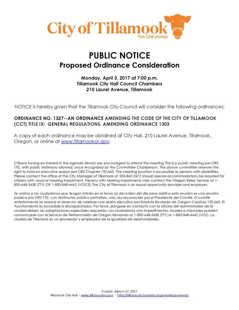 Public Notice of Ordinance Consideration 4.3.17