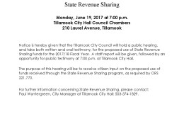 State Revenue Sharing Hearing 2017