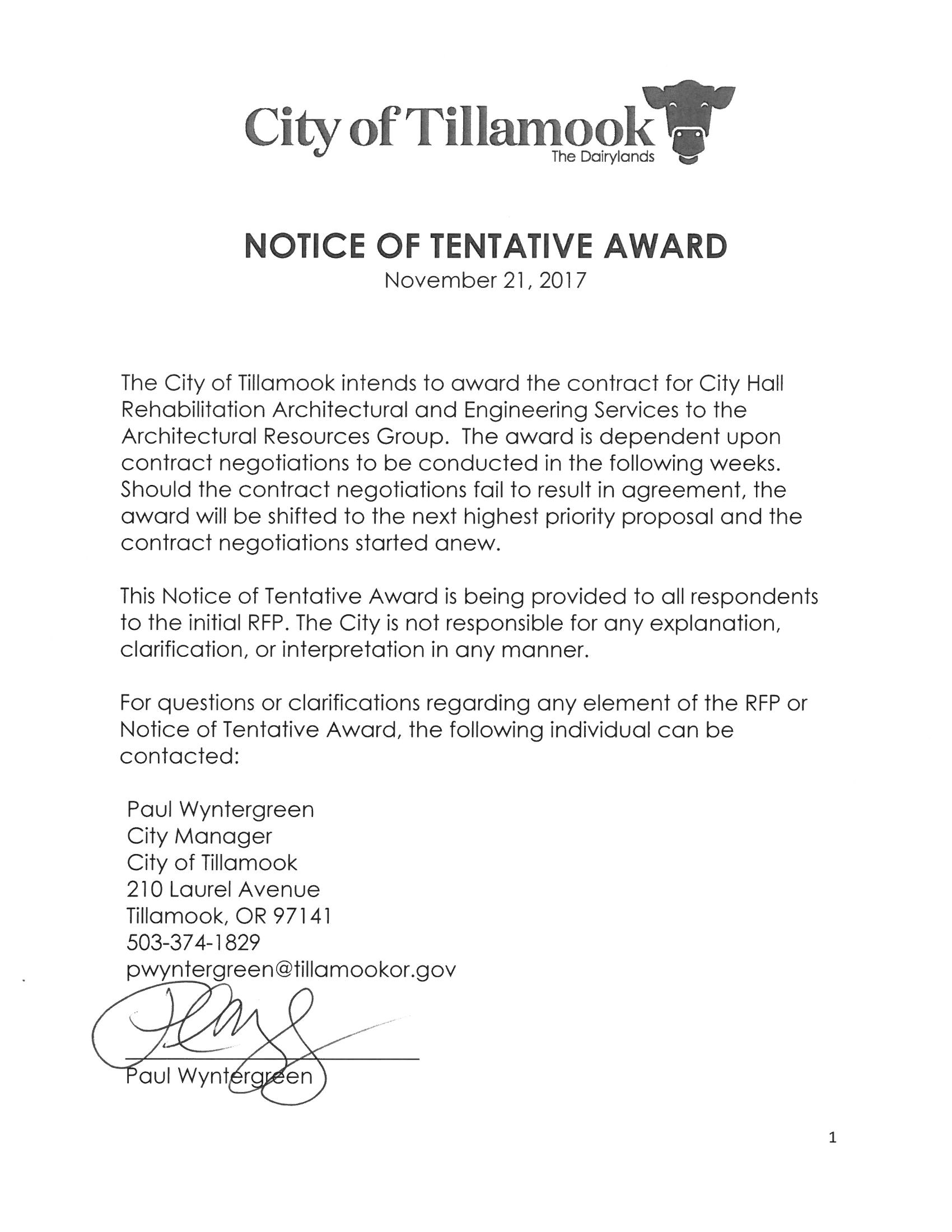 Notice Of Tentative Award   City Hall Rehab