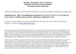 Public Notice of Ordinance Consideration 1332