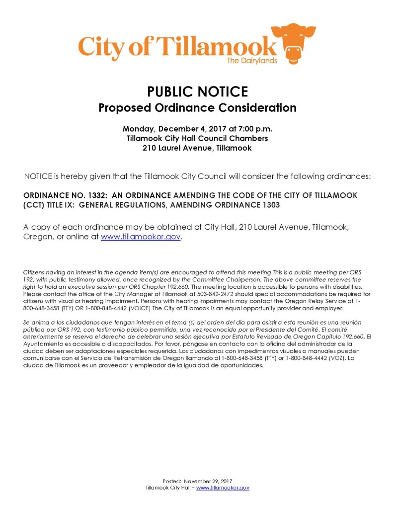 Public Notice of Ordinance Consideration 1332