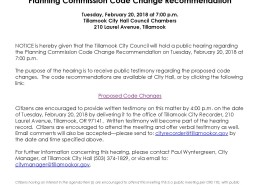 Notice of Public Hearing Proposed Code Changes 2.20.18