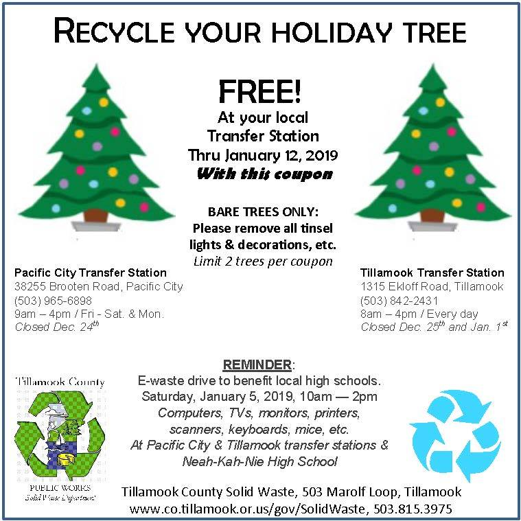 Christmas Tree Recycling Near Me.City Of Tillamook Recycle Your Christmas Tree For Free